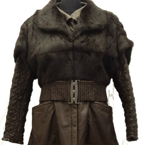 Women Leather With A Fur Vest-644
