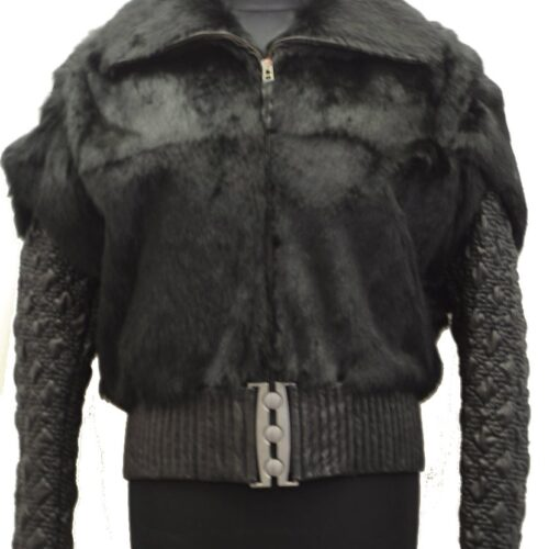 Women Leather Jacket With Furs-646